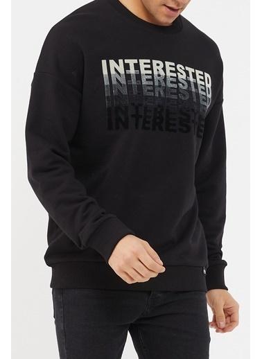 XHAN Siyah Baskılı Yumuşak Dokulu Sweatshirt 1Kxe8-44471-02 Siyah
